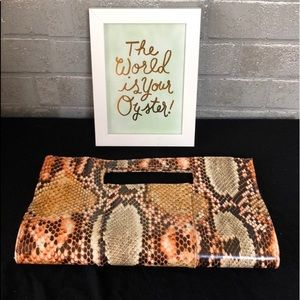 Charming Charlie Snakeskin Clutch